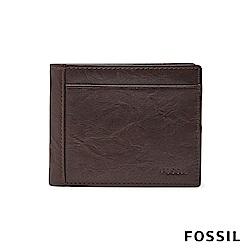 FOSSIL NEEL 真皮系列多卡兩折短夾-咖啡色 ML3899200