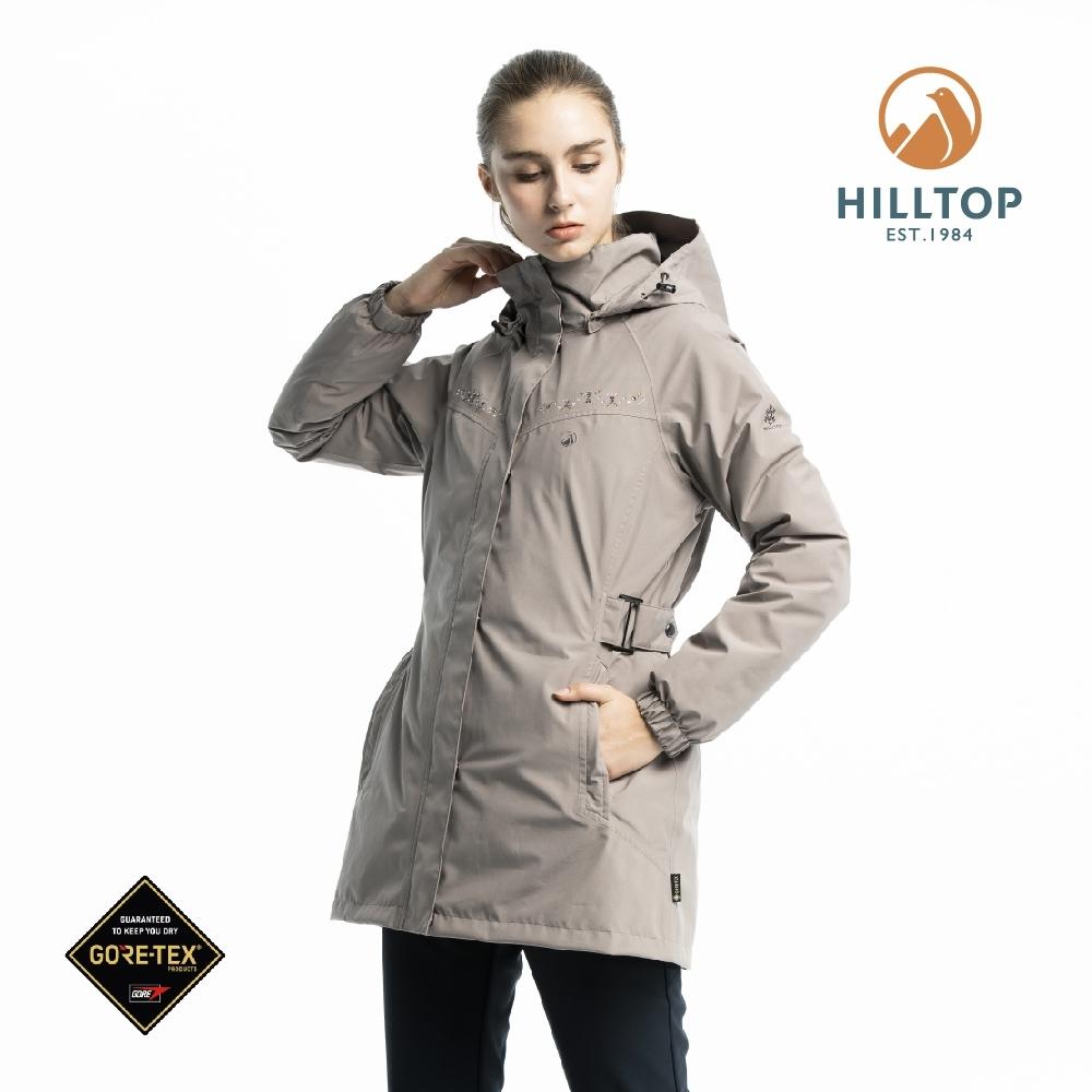 【hilltop山頂鳥】女款GORE-TEX二合一羽絨短大衣F22FZ5淺土煤