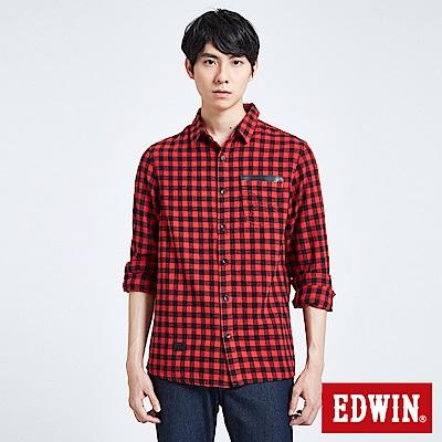 EDWIN 搖滾不死英式格紋襯衫-男-紅色