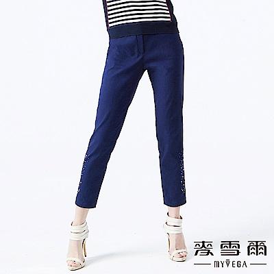 【麥雪爾】低調質感珠鑽飾彈性長褲