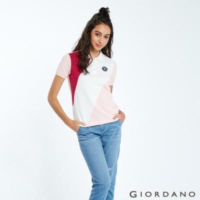 GIORDANO 女裝粉紅拼接刺繡彈力萊卡POLO衫-04 櫻桃紅/雪白/草莓粉
