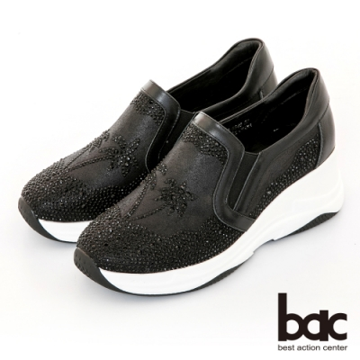 【bac】休閒享樂厚底椰子樹鑽飾懶人休閒鞋-黑