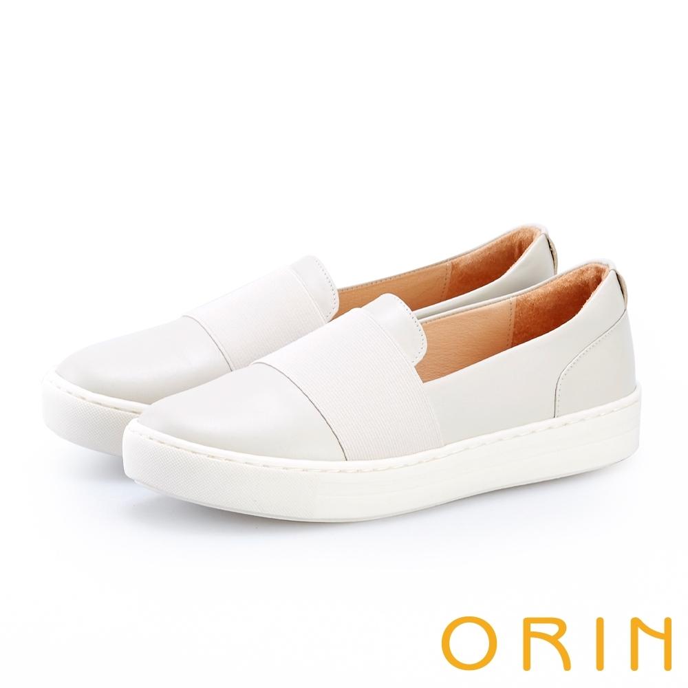 ORIN 牛皮鬆緊帶厚底休閒鞋 米色