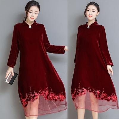 【韓國K.W.】美搭款氣質品味絲絨洋裝-1色