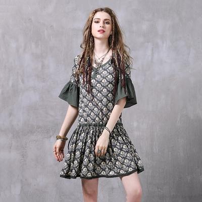 米蘭精品 連身裙短袖洋裝-棉麻復古印花民族風女裙子74ad35