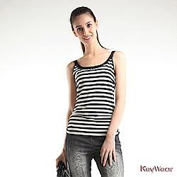 KeyWear奇威名品     復古黑白條紋精緻手縫無袖背心-黑色