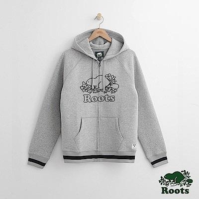 Roots 男裝-刺繡海狸連帽外套-灰