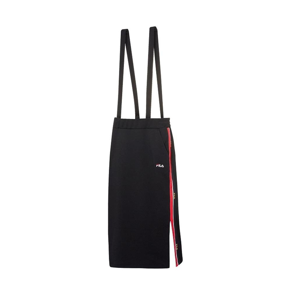 FILA 女可拆式針織吊帶裙-黑色 5SKV-1719-BK