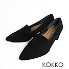KOKKO  - 女紳風範尖頭透氣真皮樂福粗跟鞋-霧面黑