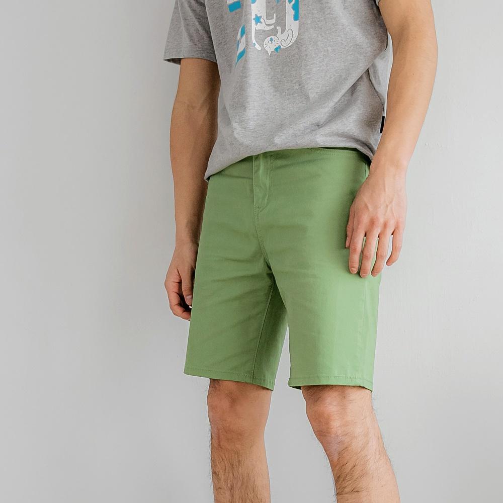 彈力修身百搭純色短褲/五分褲-OB大尺碼