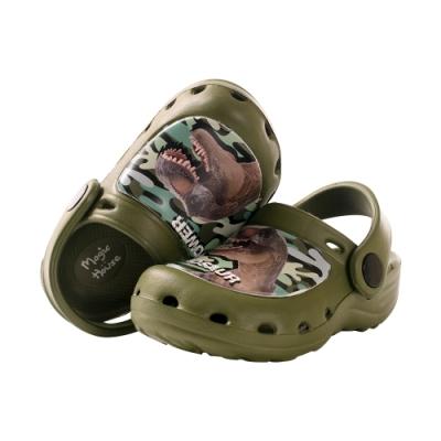魔法Baby男童鞋 台灣製恐龍圖騰輕量水陸晴雨休閒鞋sk0995