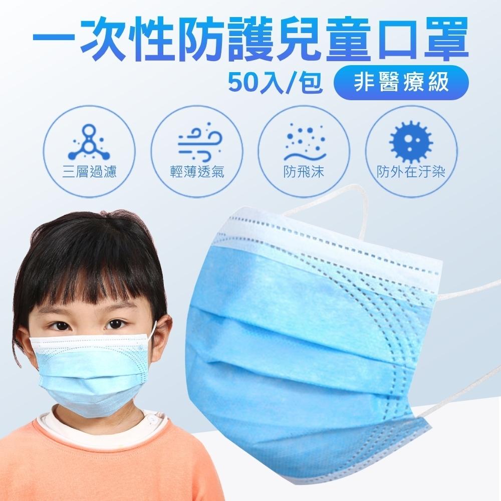 拋棄式兒童口罩 藍色三層防護(50入/包)
