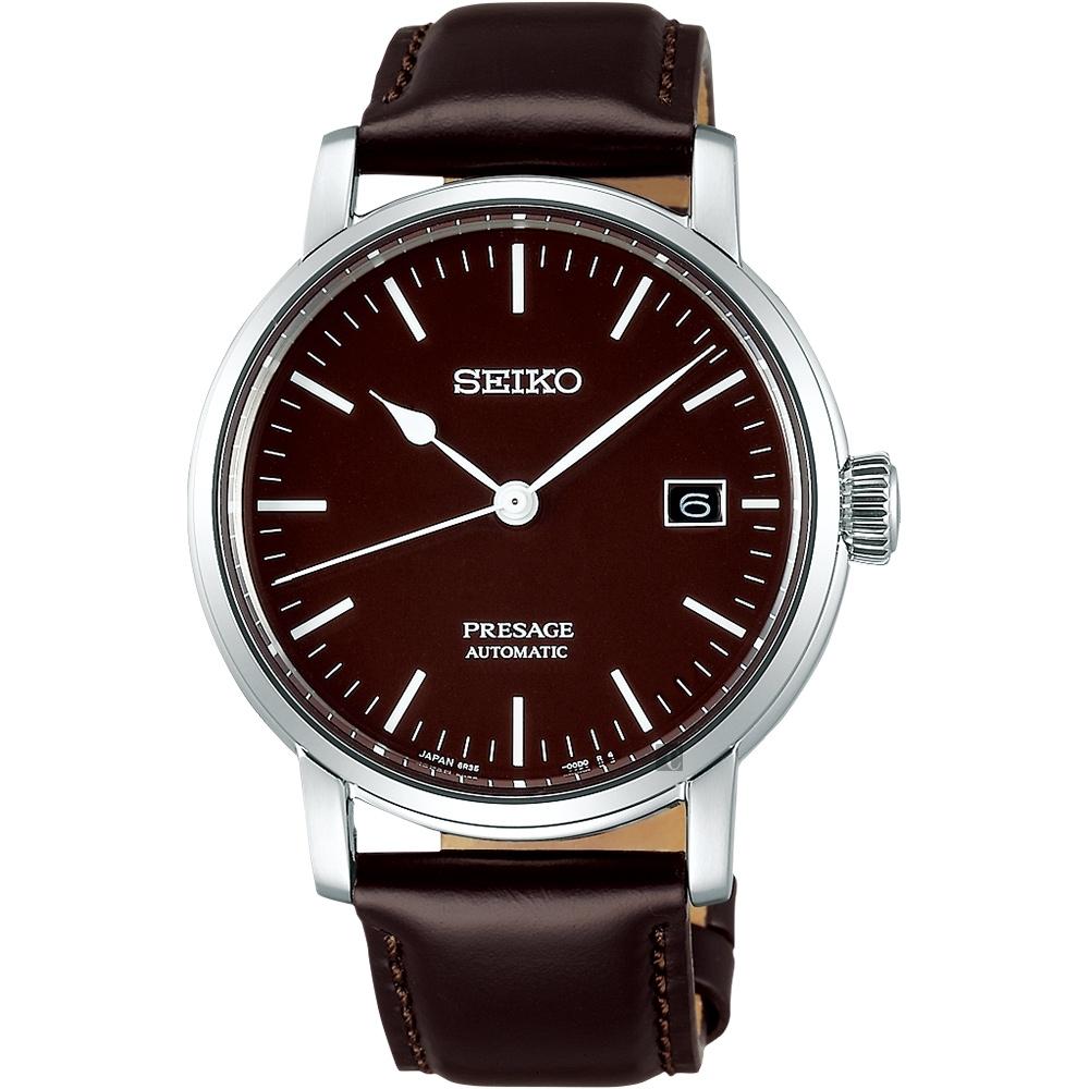SEIKO PRESAGE 琺瑯工藝機械錶-紅棕/40mm(SPB115J1)