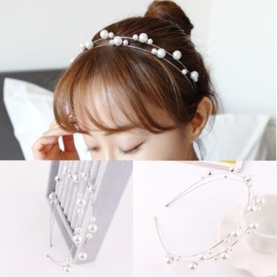 【89 zone】日系古典雙層珍珠水鑽髮飾/髮箍 1 入 (銀色)
