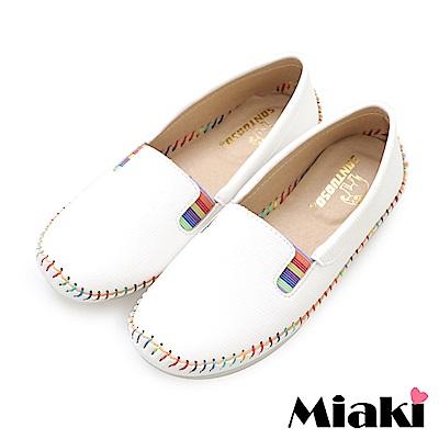 Miaki-懶人鞋繽紛韓風平底豆豆鞋-白
