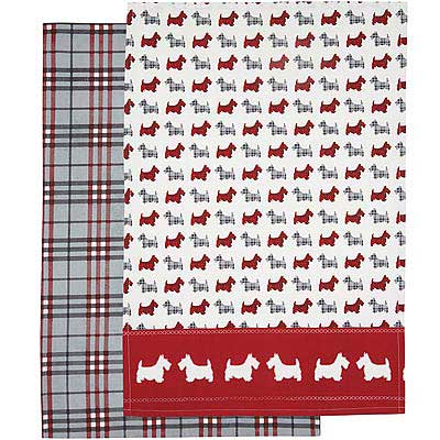 KitchenCraft 餐廚布巾2件(格紋梗犬)