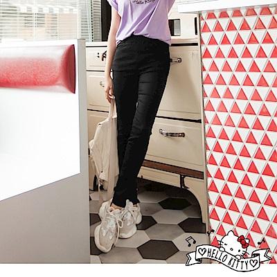 音樂Kitty印圖高含棉塑型修瘦彈力窄管褲-OB嚴選