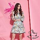 Hana+花木馬 氣質微甜滿版碎花100%棉製荷葉滾邊七分袖造型洋裝-藍(共2色)