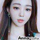 AnnaSofia 晶鑽空心超長垂一字流蘇 夾式耳環耳夾(金系)