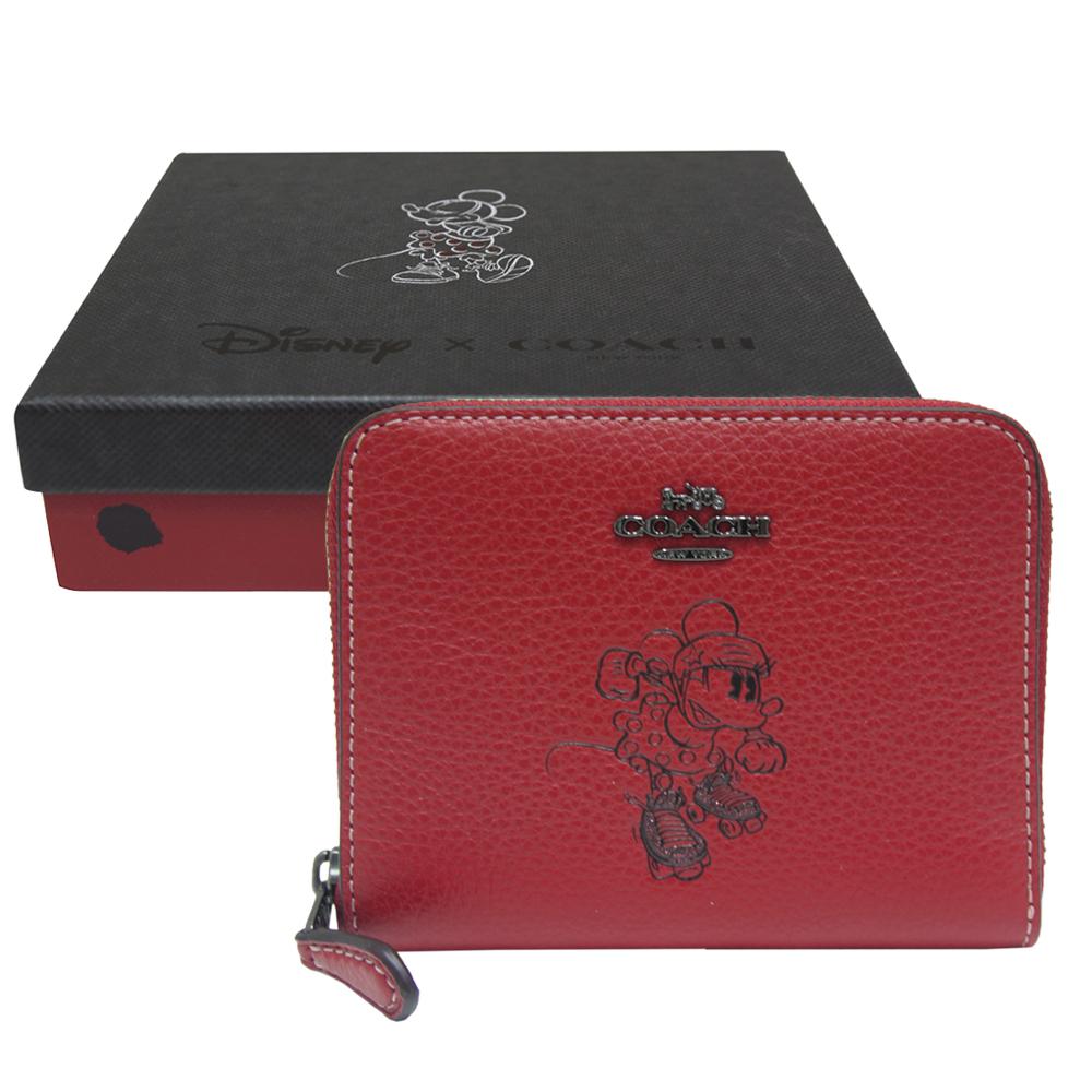 COACH DISNEY聯名 MINNIE 米妮牛皮拉鍊短夾-紅色(附原廠禮盒)