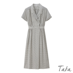 V領雙排扣收腰洋裝 TATA-(S~XL)