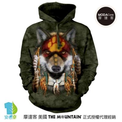 摩達客 美國The Mountain 聖靈狼 環保藝術長袖連帽T恤