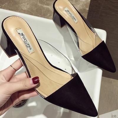 KEITH-WILL時尚鞋館-花樣年華素色透明高粗跟鞋-黑色