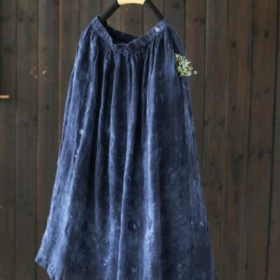 優雅刺繡天絲亞麻中長裙中長版高腰裙-設計所在