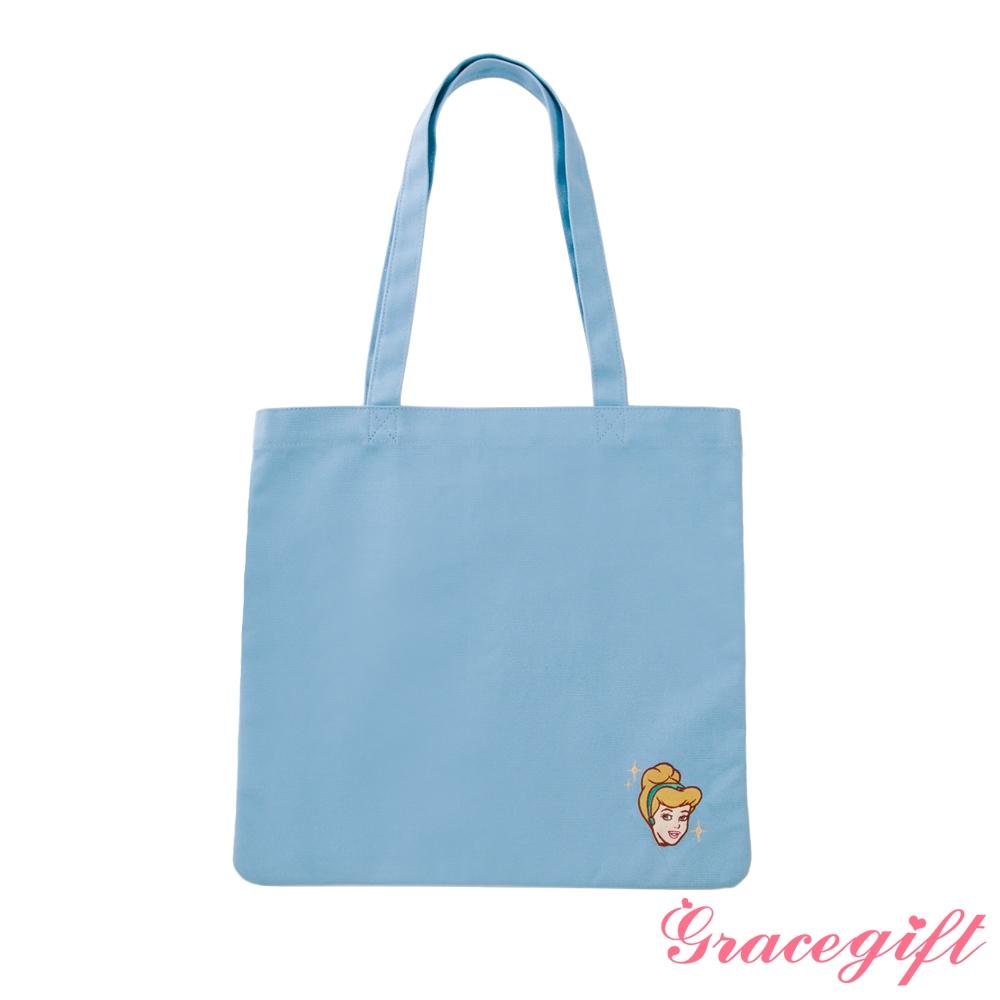 Disney collection by grace gift-迪士尼仙杜瑞拉電繡圖案帆布袋 藍