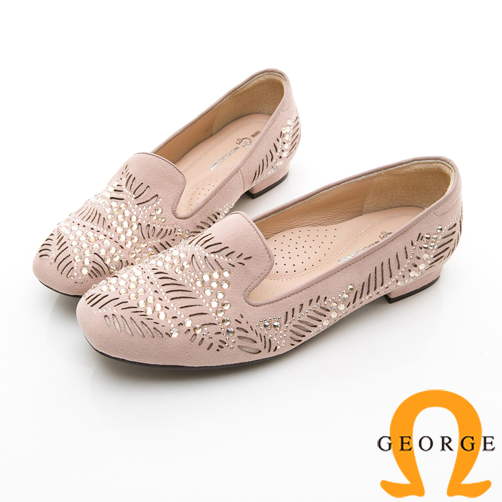 【GEORGE 喬治皮鞋】甜美水鑽鏤空淑女平底鞋-粉色