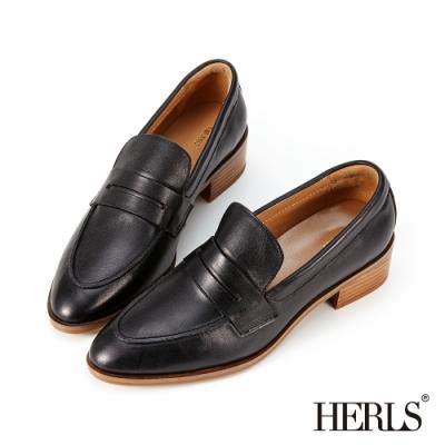 HERLS樂福鞋-全真皮手工刷色尖頭粗跟便士樂福鞋-黑色