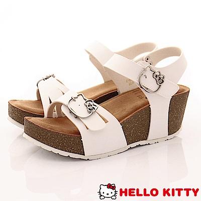 Hello Kitty-休閒厚底涼鞋款-EI18180白(女段)