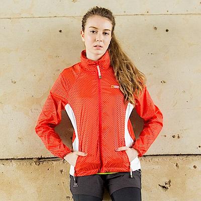 國家地理女款極光防風外套-紅橙色