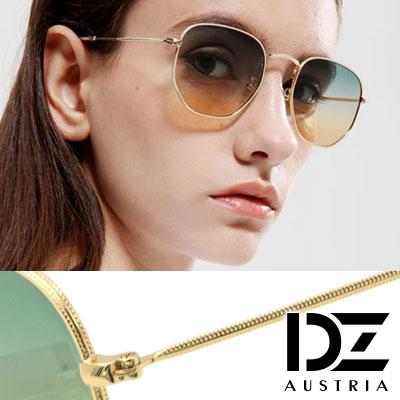 【2件59折】DZ 漸層雙色細點框邊 抗UV防曬太陽眼鏡墨鏡(綠黃漸層片)