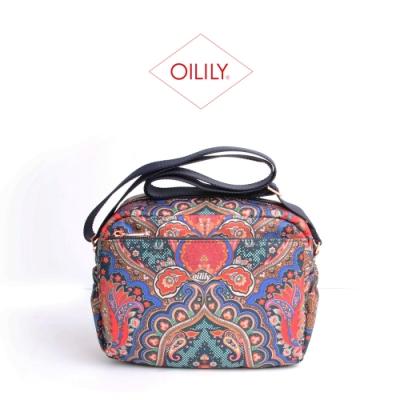 【Oilily】日本限定款_拉鍊式斜背相機包_寶藍_City Rose Paisley