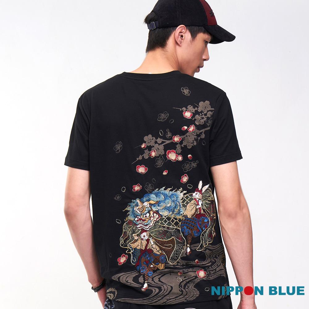 日本藍 BLUE WAY 【進口金標】雪兔舞獅短TEE(黑)