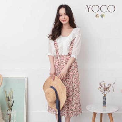 東京著衣-YOCO 浪漫綻放碎花打褶吊帶中長裙-S.M.L(共二色)