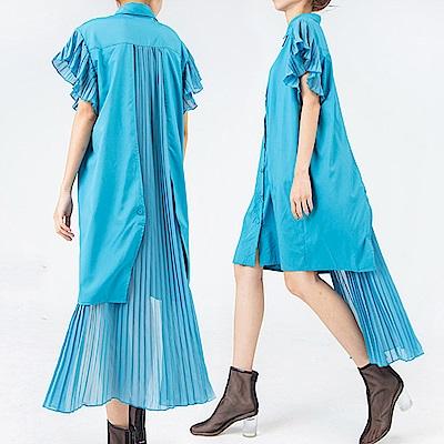 壓摺荷葉雪紡拼接領衫連裙-(共二色)Andstyle
