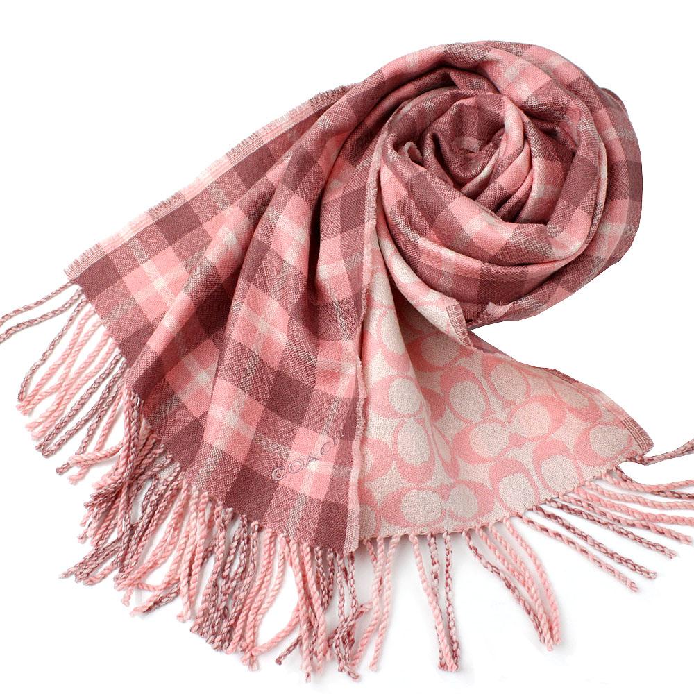 COACH  粉色格紋搭配大C LOGO 雙面羊毛保暖圍巾COACH