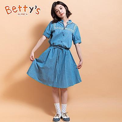 betty's貝蒂思 縮腰繡線牛仔洋裝(淺藍)