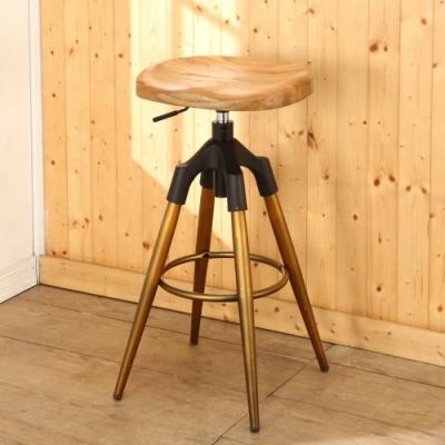 BuyJM古典造型實木旋轉昇降吧檯椅/高腳椅37x37x74公分