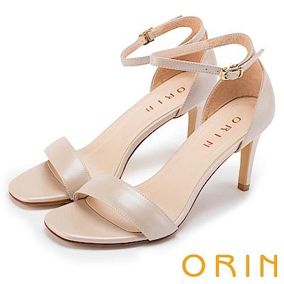 ORIN 時尚名媛 牛皮一字繫踝繞帶後包高跟涼鞋-裸色