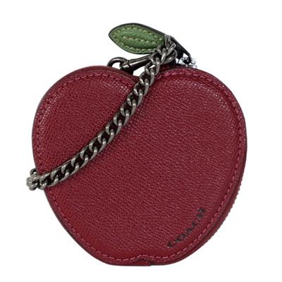 COACH深酒紅蘋果造型防刮全皮鍊帶手掛零錢包