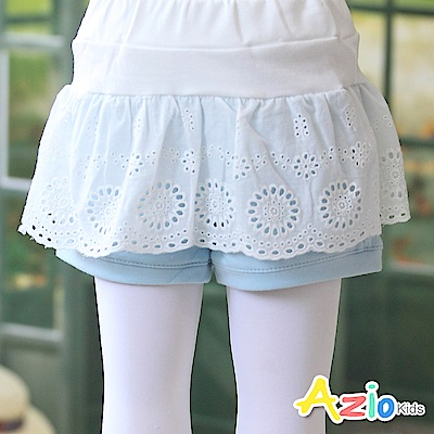 Azio Kids 短褲 蕾絲花布拼接鬆緊短褲(藍)