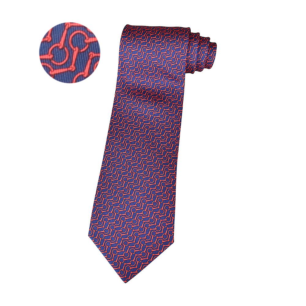 HERMES愛馬仕ZIGZAG經典緹花LOGO鐵環鎖設計蠶絲領帶(海洋藍x紅)