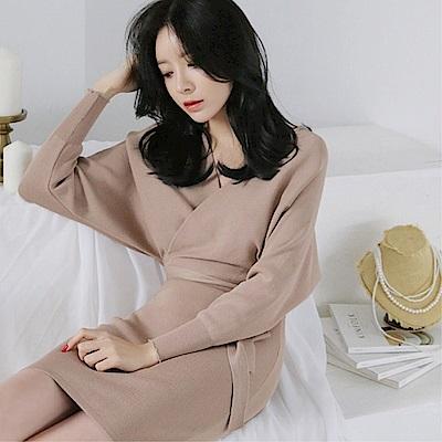 DABI 韓系交叉V領高腰綁帶包臀針織毛衣裙長袖洋裝