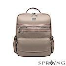 SPRING-未來系列尼龍簡約後背包 A4可-優雅灰棕