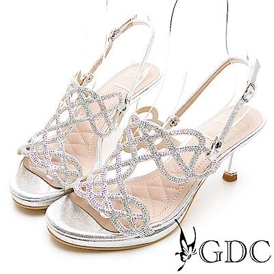 GDC-女神降臨編織水鑽性感簍空兩穿式中跟涼拖鞋-銀色