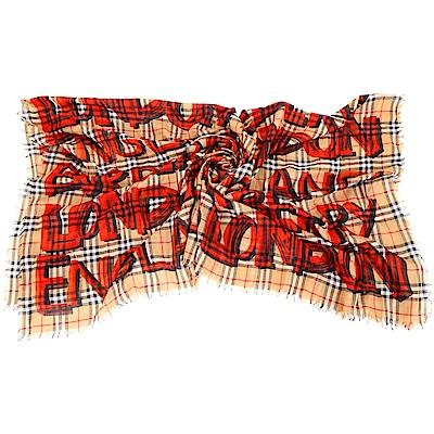 BURBERRY 塗鴉格紋紅色混紡羊毛方巾/圍巾