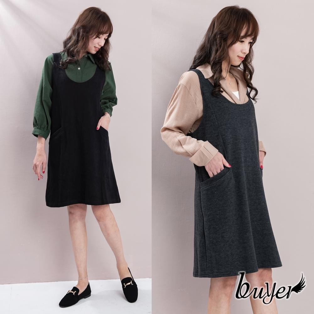 【buyer 白鵝】台灣製 保暖厚棉料背心洋裝(黑/深灰)